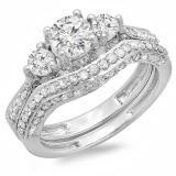 Share 1.75 Carat (ctw) 14k White Gold Round Diamond Ladies Vintage 3 Stone Bridal Engagement Ring Set 1 3/4 CT - Dazzling Rock #https://www.pinterest.com/dazzlingrock/