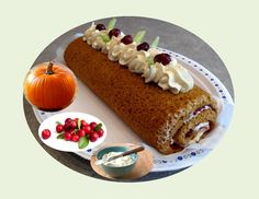 Pumpkin Cranberry Spice Roll - Powered by Cream Cheese Topping, Make Cream Cheese, A Food, Good Food, Cranberry Jam, Vegetarian Cheese, Pumpkin Puree, Sweet Desserts, Christmas Baking