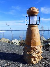 Hand Carved AND Turned Vintage 1957 Lighthouse Lamp Vintage Tv, Vintage Lamps, Lighthouse Lamp, Black House, Lamp Light, Black Gold, Hand Carved, Carving, Wood