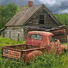 Red Pickup Truck Abandoned Farm House Rusty Auto Chevy Truck Farm Homestead Old Farm Forlorn Auto Rural Landscape Auto Photograph Abandoned Farm Houses, Abandoned Cars, Abandoned Places, Abandoned Vehicles, Old Farm Houses, Old Vehicles, Vintage Houses, Abandoned Homes, Abandoned Buildings