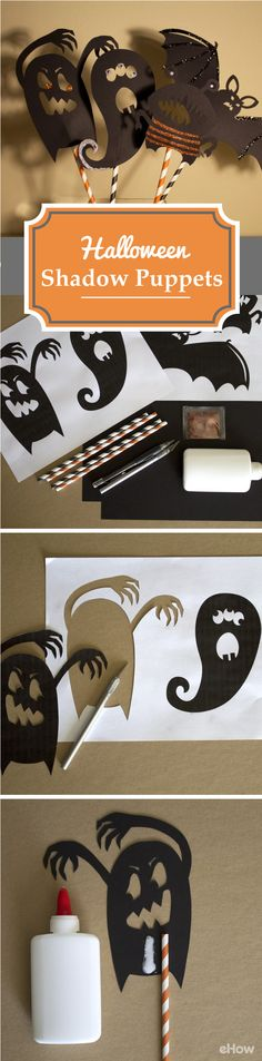 Super cute shadow puppets you can use to decorate with or have the kids play with. So easy to make! http://www.ehow.com/slideshow_12313503_make-halloween-shadow-puppets.html?utm_source=pinterest.com&utm_medium=referral&utm_content=slideshow&utm_campaign=fanpage