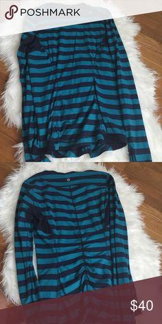 🍋Lululemon long sleeve shirt Turquoise and navy stripped. Gathered back. Thumb holes in sleeves. Gently worn good condition. Size tag removed due to discomfort Size 6. 20% less on Ⓜ️ lululemon athletica Tops Tees - Long Sleeve