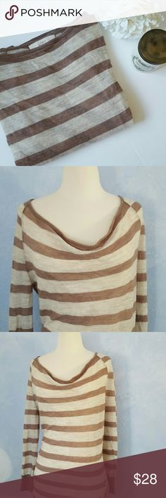 "Loft Striped Sweater Cute flowy sweater from Ann Taylor Loft. Very light weight. Stripes come down at an angle on the sides for a unique look. Excellent preloved condition. No holes or pilling. 72% acrylic; 28% merino wool. Measures 26"" in length; 20"" across bust. LOFT Sweaters"