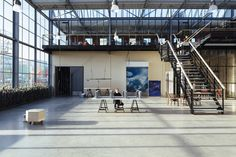 Completed in 2016 in Rotterdam, The Netherlands. Images by Willem de Kam. Dating from the derelict building, a former glass factory located near the Rotterdam harbour and 10 minutes from the Erasmusbrug, was about to. Interior Rendering, Interior Design Studio, Commercial Interior Design, Commercial Interiors, Derelict Buildings, Community Space, Adaptive Reuse, Dutch Artists, Dream Garage