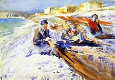 John Singer Sargent - Three Figures on the Beach, ca. 1878/80