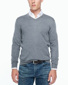 Tipped V-neck sweater, gray by Neiman Marcus at Neiman Marcus.