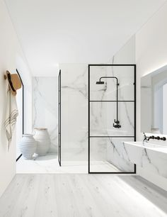 Give your bathroom an urban edge with a crittall-style shower screen. Here are our favourite Crittall-style shower screens in the UK. White Marble Bathrooms, Small Bathroom, Modern Bathrooms, Bathroom Ideas, Shower Bathroom, Bathroom Remodeling, Modern White Bathroom, Bathroom Goals, Modern Shower