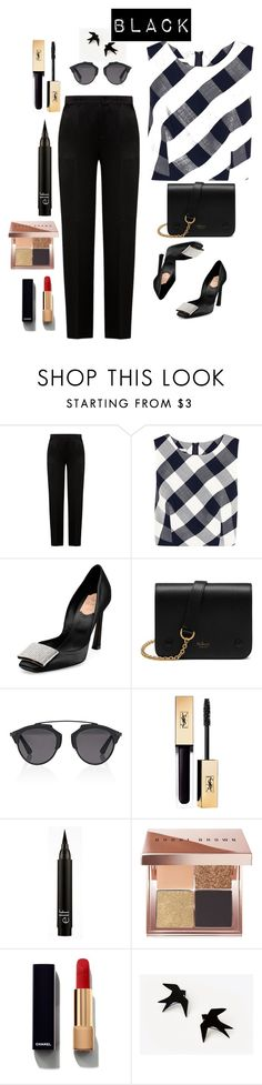 """Black"" by regnovo on Polyvore featuring Alberta Ferretti, Oscar de la Renta, Roger Vivier, Mulberry, Christian Dior, Bobbi Brown Cosmetics and Chanel"