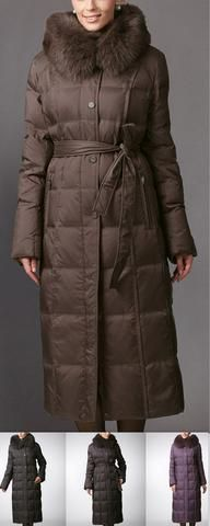 Fur Hooded Long Puffer Down Coat - ( Various Colors to Choose From )