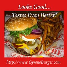www.GyreneBurger.com  865-281-5426  1927 Cumberland Avenue, Knoxville, TN 37916  Call Today For Pickup Or Delivery  Order Online Now ➡️    www.GyreneBurger.com