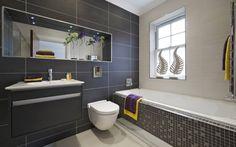 elegante, simple und stilvolle Badgestaltung in Weiß und Anthrazit