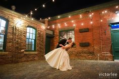 Beautiful night photo with the Bride and Groom at The Distillery District and Archeo Wedding.