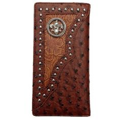 Fleur De Lis Mens Wallet Check Book Bifold Western W011-11 Fd Ostrich Brown