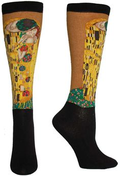 Here's a sneak peek at our new art socks:  Gustav Klimt's The Kiss (Lovers) intricately sewn into a trouser length sock. Have you been able to catch your breath yet?  ;)