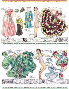 Charlotte Ware paper dolls Dancing Rosa and Dancing Dolly 1939 / papergoodies.com