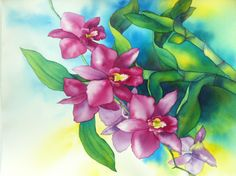 Watercolour orchid - dendrobium