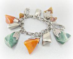 Vintage Chunky Charm Bracelet, Orange Brown Green Lucite Nugget Charms, Silver Chain Charm Bracelet, Modernist Bracelet, 1950s 1960s Jewelry by RedGarnetVintage, $28.00
