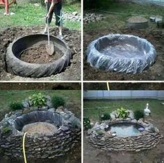 ~tire pond~ old recycled reused repurposed tire large big plastic stones rocks plants decoration water pond fish turtles garden calm pretty landscaping Garden Yard Ideas, Garden Projects, Garden Art, Tire Garden, Wood Projects, Ponds Backyard, Backyard Patio, Garden Ponds, Tire Pond