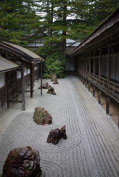 """Kongobu-ji zen garden, Koyasan, Japan. I love the precision of the lines in sand gardens with their """"islands"""" of stone. So evocative, and so meaningful."""