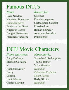 INTJ. My adoration for Andy Dufresne is indescribable.