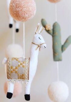 Handmade Llama & Cactus Baby Mobile   BohoBabyHeaven on Etsy