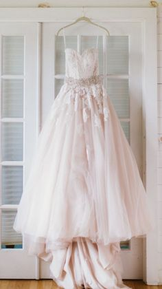 blush pink lace tulle wedding dress via Studio Finch Photography - Deer Pearl Flowers / http://www.deerpearlflowers.com/wedding-dress-inspiration/blush-pink-lace-tulle-wedding-dress-via-studio-finch-photography/