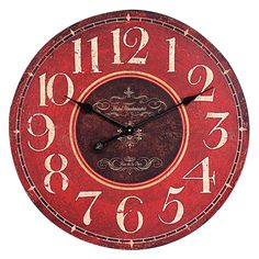 Our Large Round Red Wall Clock will add a vintage European vibe to any room in your house. For more wall clocks visit Antique Farmhouse! Red Wall Clock, Red Wall Art, Home Wall Art, Wall Art Decor, Wall Clocks, Westminster, Art Mural Rouge, Oversized Clocks, Red Home Decor