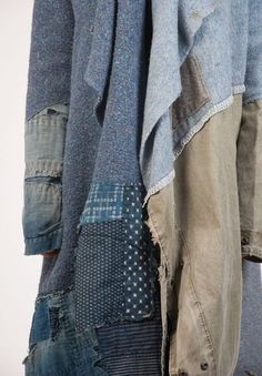 Greg Lauren Nomad Coat In Blue Patchwork