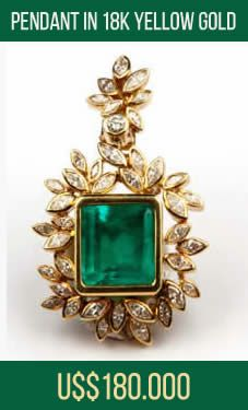U$ 180.000,00 (180 Thousand Dollars) - Direct the owner jewellery - Pendant in 18k yellow gold, weight 35.80 grams, handmade, unique and exclusive piece, with the central gem emerald measuring 15.5 X 14 X 10 mm approximately 16 ct strong medium green spiked all around 41 Diamonds on total (3.57 ct), 39 with navette cut and 02 round - Luxury Jewelry For Sale - From Brazil - This jewel, payment can be subdivided 10 times on the card - Email: andersonweb@outlook.com