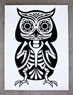 Neat black and white sugar owl