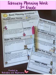 Math Morning Work for 3rd Grade {Good Morning, Sunshine!} Multiplication Monday, Base Ten Tuesday, Wordless Wednesday, Throwback Thursday, Fraction Fun Friday