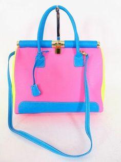 GIADA LEDER HENKEL SCHULTER TASCHE BAG pink blau gelb - WIE NEU! LUXUS! /NP801 bei Secondherzog