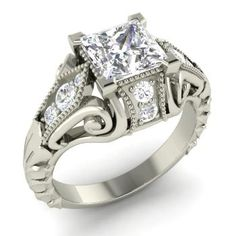Princess-Cut White Topaz  and Diamond  Vintage Ring in 14k White Gold