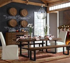 Wine Barrel Wall-Mounted Drink Dispenser | Pottery Barn. {love this on the chalkboard wall. so cool}