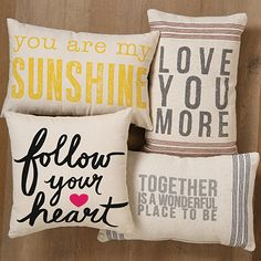 Add a sweet sentiment to a loved one's sofa with these lovely canvas pillows.