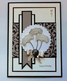 handmade greeting card:  Reason to Smile set ... created by Kimara ... black and white with kraft ... Stampin' Up!