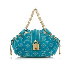 Pre-Owned Louis Vuitton Limited Edition Monogram Theda PM Bag ($1,495) ❤ liked on Polyvore featuring bags, handbags, blue, louis vuitton purses, preowned handbags, print handbags, monogrammed purses and kiss-lock handbags