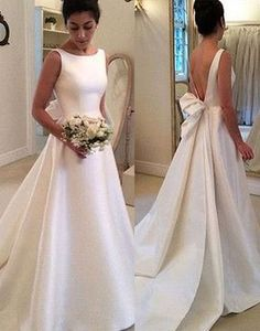 White A-line satin backless special high quality long floor-length Prom Dresses Gown,cheap forma prom gown BD1705480