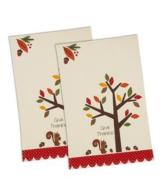 Love this 'Give Thanks' Acorn Tree Dish Towel - Set of Two on #zulily! #zulilyfinds