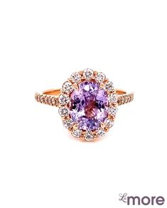 Large Lavender Sapphire Ring in Luna Halo Ring Diamond Ring Settings, Purple Sapphire, Halo Rings, Heart Ring, Lavender, Rose Gold, Engagement Rings, Jewelry, Enagement Rings