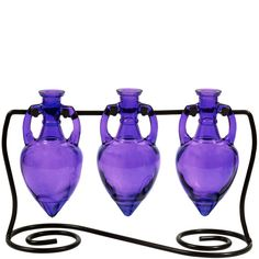 Modern Olive Oil &Vinegar Colored Glass Bottle Liquid Dispensers ~ Set of 3 Violet Decorative Amphora Style Bottles with Chrome Spouts & Black Metal Swirl Stand Purple Love, All Things Purple, Purple Glass, Shades Of Purple, Purple Stuff, Periwinkle, Pink, Colored Glass Bottles, Olive Oil And Vinegar