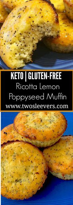 Ricotta Lemon poppyseed muffin Pinterest - Gluten-free Keto Ricotta Lemon Poppyseed Muffins - https://twosleevers.com