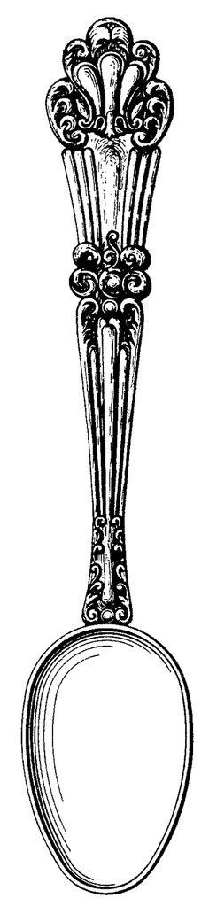 . Vintage spoon printable - cutlery
