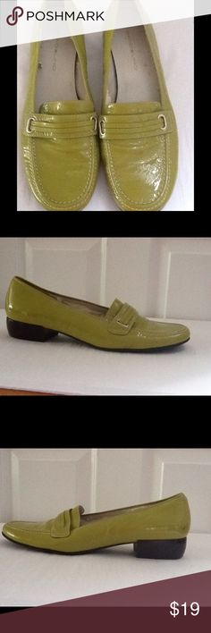 Bandolino Lime Green Patent Leather Loafer Sz 7.5 Bandolino Lime Green Patent Leather Loafer Sz 7.5 leather peeling inside from dryness  other then that great condition clean not a lot of used Bandolino Shoes Flats & Loafers