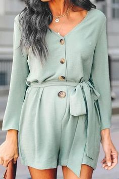 The maternity pure color long sleeve v neck romper is a good choice of fashion and you may like it. Maternity Jumpsuit, Maternity Fashion, Romper Dress, Shirt Dress, Fashion Themes, Daily Fashion, Rompers, V Neck, Pure Products