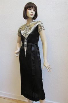 """1930's  Black Silk Dress With a Cream and Black Designed Bodice With Lace Up Neckline - """"Dead Stock"""" Size XS/S by MTvintageclothing on Etsy"""