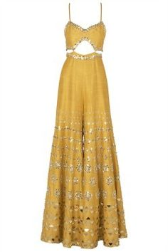 Papa Don't Preach presents Mustard yellow embroidered cutout jumpsuit available only at Pernia's Pop Up Shop. Indian Fashion Dresses, Dress Indian Style, Indian Designer Outfits, Fashion Outfits, Indian Lehenga, Indian Gowns, Indian Attire, Indian Wear, Wedding Outfits For Women