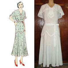 Style Cape Collar Day Dress with Long Pointed Fluttery Skirt Custom Made in Your Size From a Vintage Pattern Lace Evening Dresses, Day Dresses, Nice Dresses, 1930s Fashion, Vintage Fashion, Vintage Dresses, Vintage Outfits, Vintage Clothing, 1930s Dress