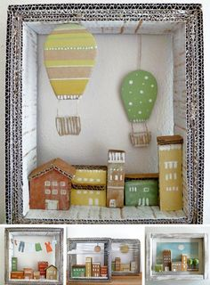 A little world in cardboard and wood, by Angela Fattori, Wood and Paper Dreams, Craft Idea, Kids Decoration