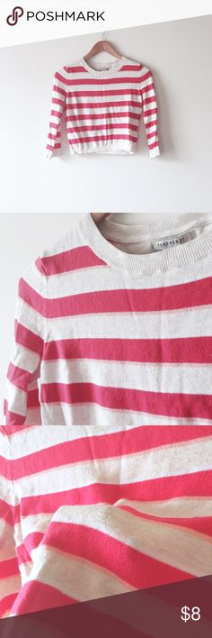 Pink striped crop sweater 3/4 sleeve, cropped, comfy light weight sweater. Forever 21 Tops Crop Tops
